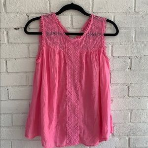 Studio by JPR pink linen top with lace details